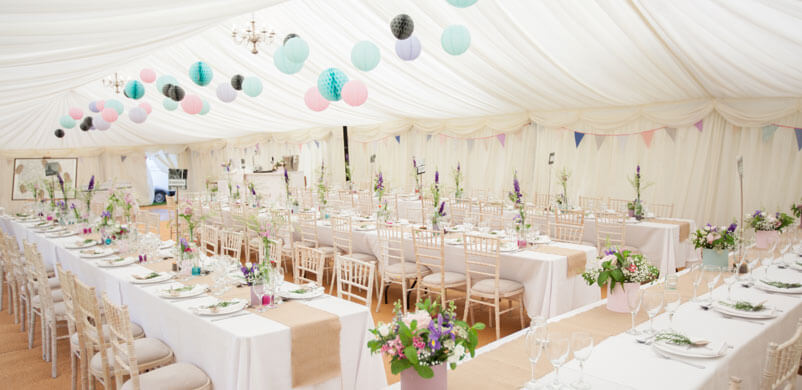 Marquee Decoration Coloured Lanterns