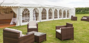 Rattan Set Outside Marquee
