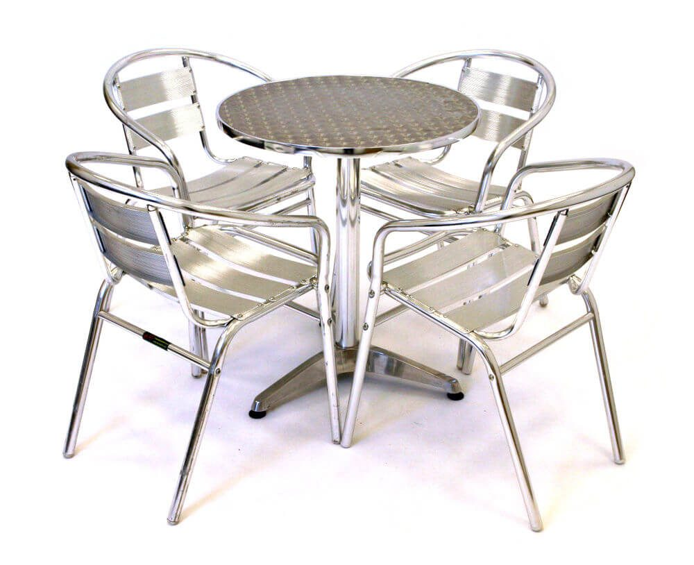 Aluminium bistro table and chairs