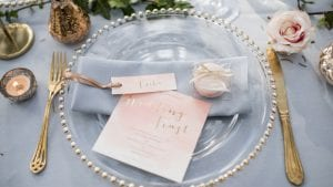 Clear Plate With Gold Cutlery